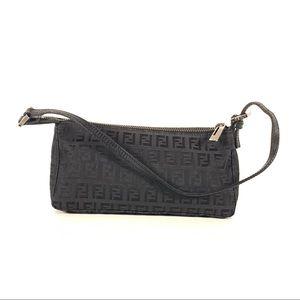 Fendi Zucchino Black Canvas Mini Pochette FF